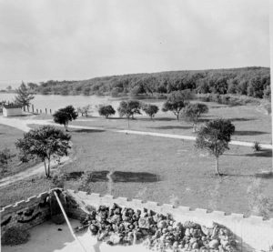 View from atop Art McKee's sunken treasure museum, home today to Treasure Village Montessori. The picture, taken in 1958, shows a much less developed Treasure Harbor.